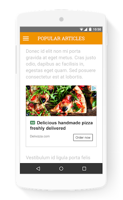 In-Article Ad Example on Mobile Phone by Adsense Blog