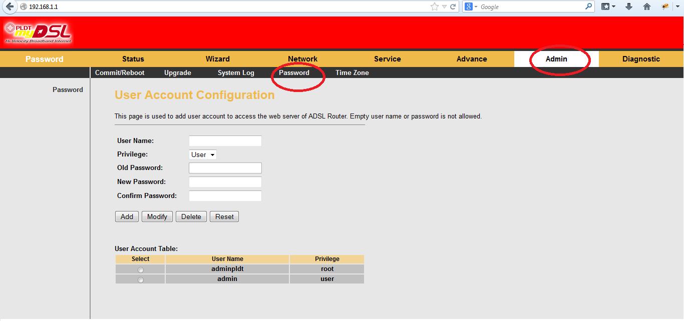 admin username and password pldt