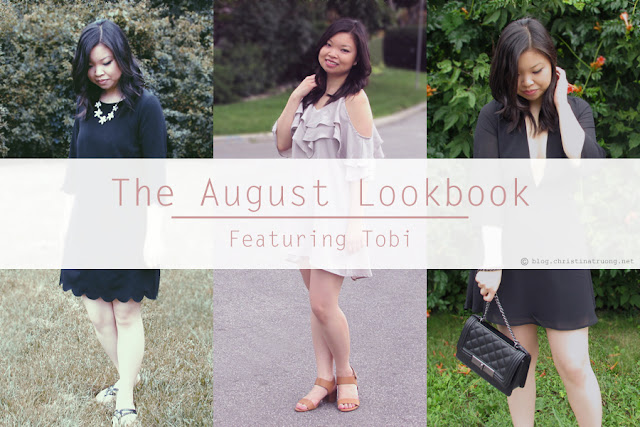 The August Fashion Lookbook featuring TOBI Sweetly Scalloped Dress, Isabella Ruffle Shift Dress, Take It Slow Skater Dress