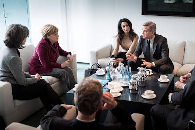 Amal Clooney, Angela Merkel, Berlinale, George Clooney, menekültpolitika, migráció,