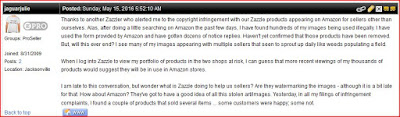 Zazzle forum discussion Amazon design theft