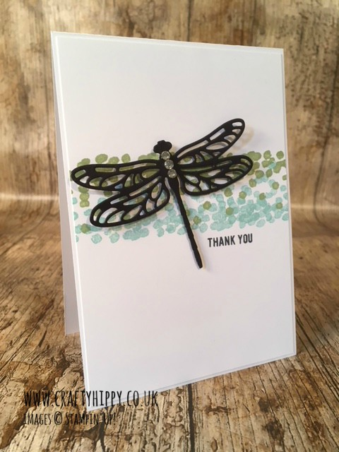 This image is a photograph of a hand made card made from Whisper White Cardstock. It has a middle band of green and blue dots, with a black die cut dragonfly positioned above at an angle with the sentiment Thank You and is made entirely of Stampin' Up! products.