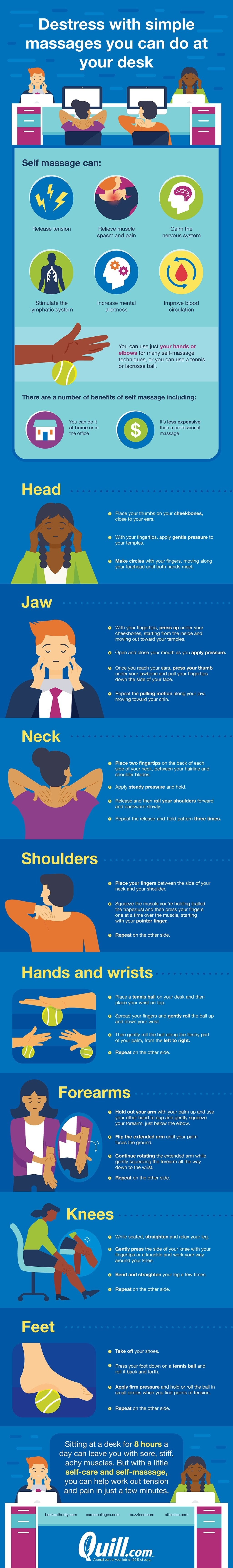 Destress with these simple massages you can do at your desk #infographic