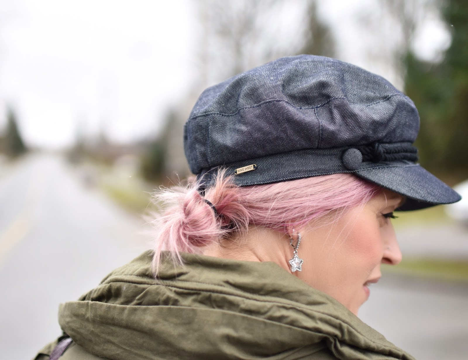 Monika Faulkner outfit inspiration - denim baker boy cap, pink hair