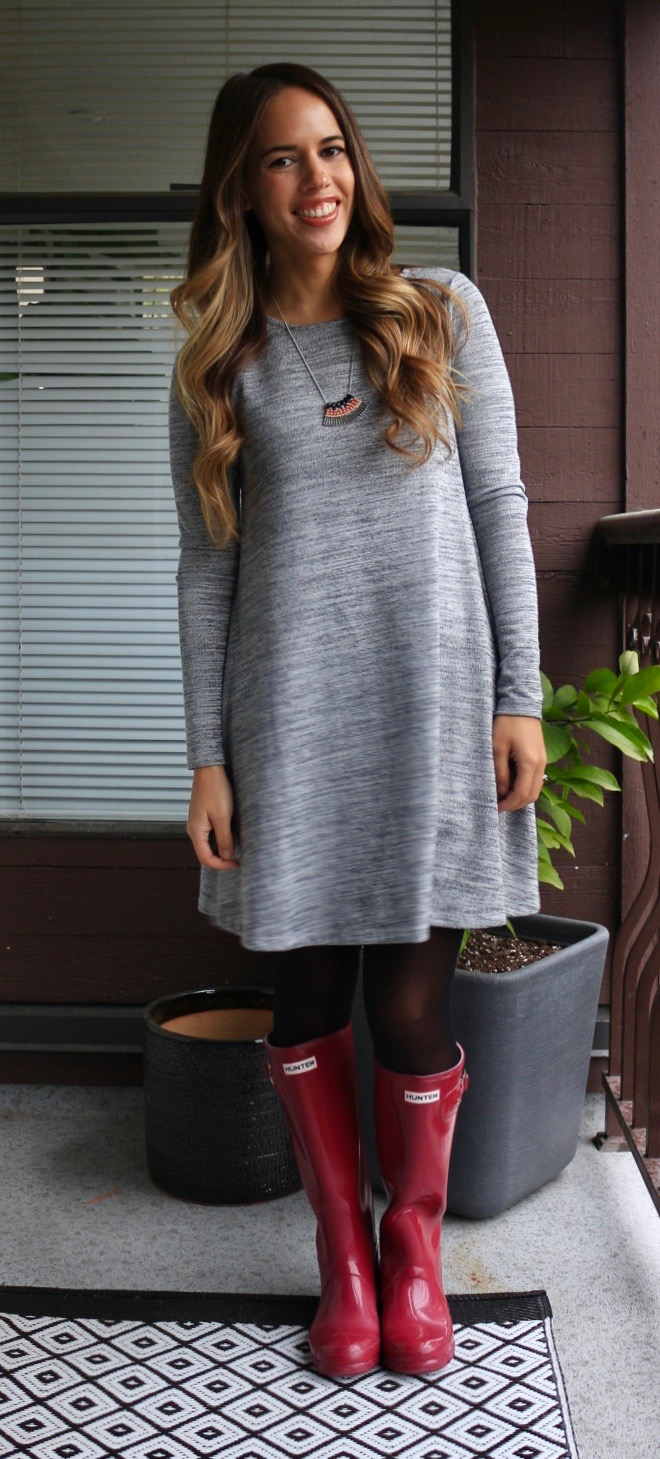 Jules in Flats - Old Navy Swing Dress + Hunter Rainboots