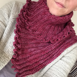 Wearing the Fronds shawl - a DK weight shawl