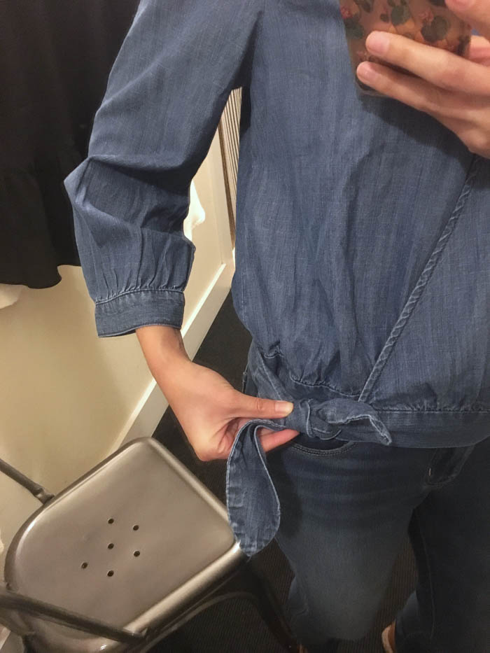 denim top detail
