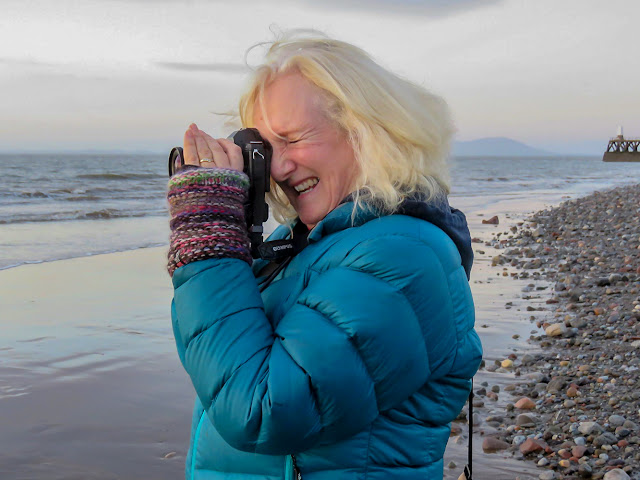 Photo of me taking photos down on the shore at Maryport on Wednesday evening. Photo by Dave Welham