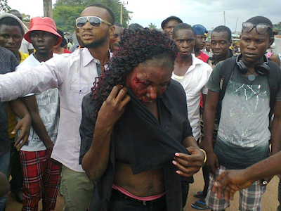 Female 419 suspect caught and beaten in Benue State