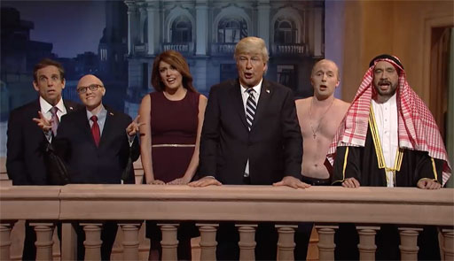 Donald Trump (Alec Baldwin) gets an update about the Robert Mueller probe from Rudy Giuliani (Kate McKinnon) and Michael Cohen (Ben Stiller) after being comforted by First Lady Melania Trump (Cecily Strong).