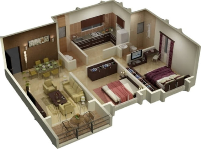 Rumah dengan ukuran 45 m2 ini memberikan penghuni rumah sebuah luasan bangunan yang nyata kualitas serta keleluasaan dalam beraktivitas didalamanya