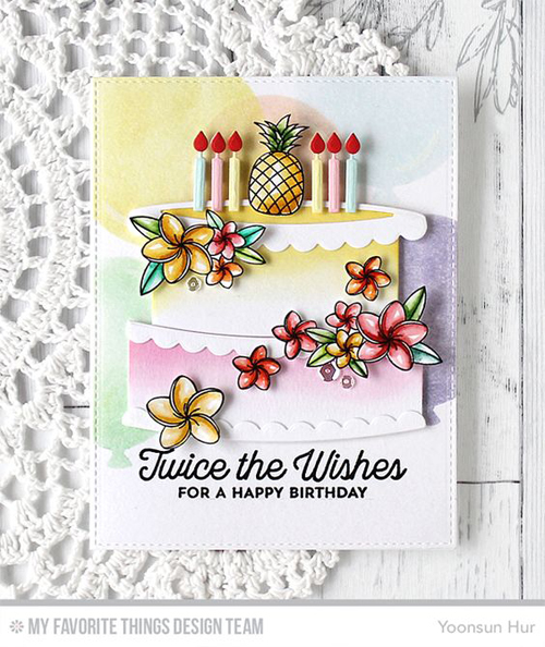 Handmade card from Yoonsun Hur featuring Twice the Wishes stamp set and Interactive Birthday Cake Die-namics, Birdie Brown Polynesian stamp set, Blueprints 25 Die-namics, and Big Balloons Stencil #mftstamps