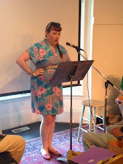 Bridget Eileen reading her poetry at the 2015 Boston Poetry Marathon