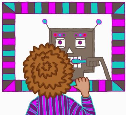 Digitális rajz reggel fogat mosó gyerekről, a vekker pár perce riasztotta fel a szundiból, ezért álmos, belül alvó robotnak látja magát a tükörben.