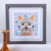 Stitching on card modern patchwork style cat prick and stitch paper embroidery pattern