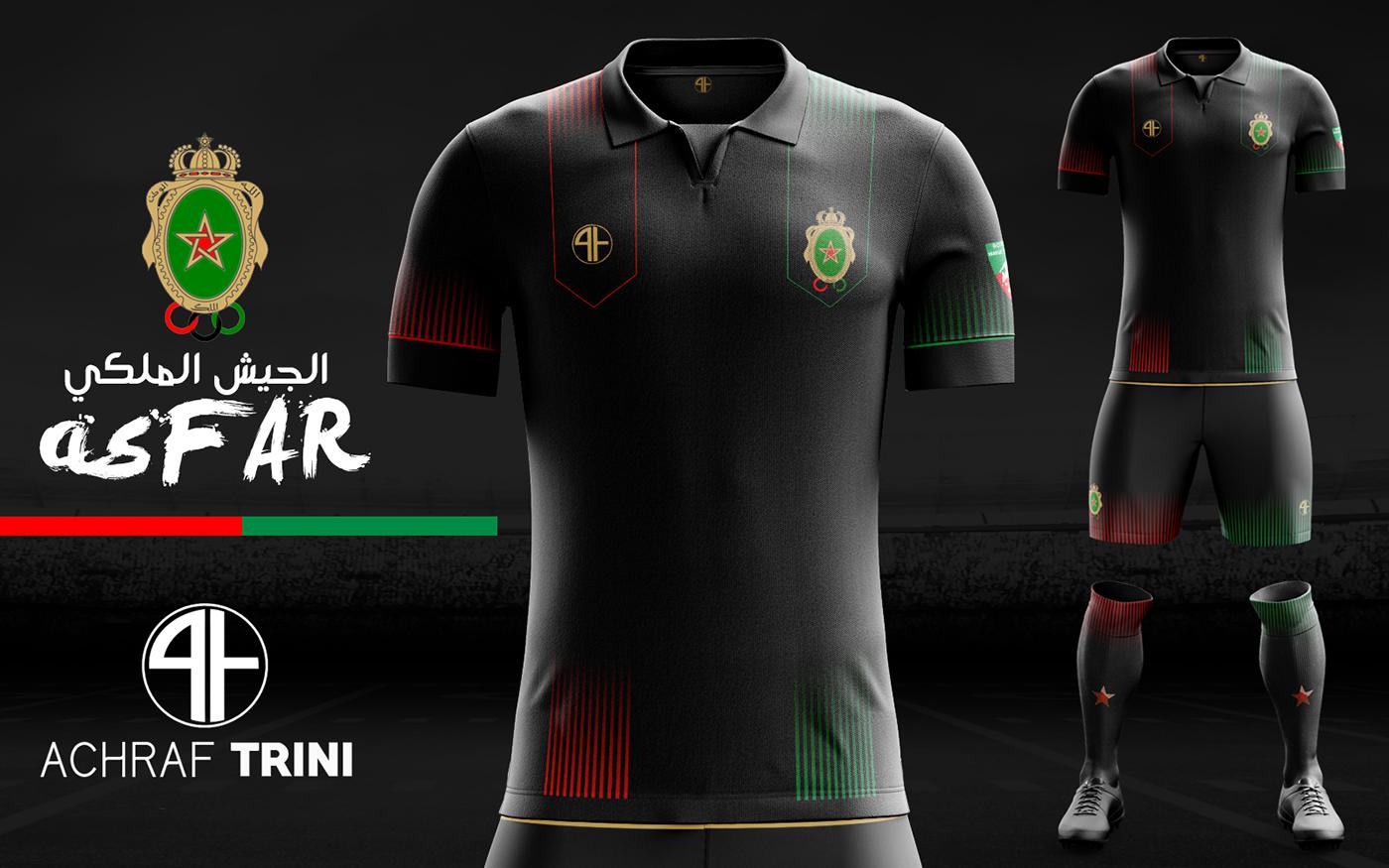 593470c652 Designer cria novos uniformes para equipes marroquinas - Show de Camisas