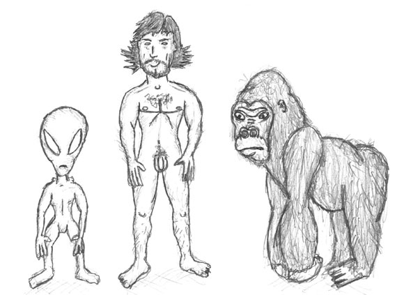 The physical comparison between Aliens, Man and Monkey