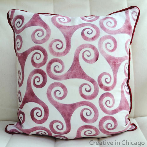 stenciled fabric pillow