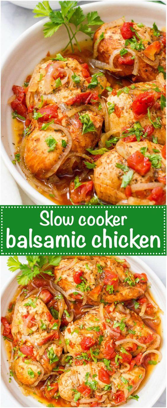 Easy Slow Cooker Balsamic Chicken