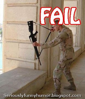 Soldier FAIL - AK47 is not bow and arrow :D