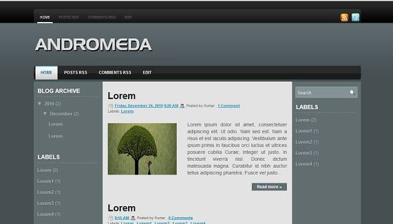 Andromeda Blogger Template