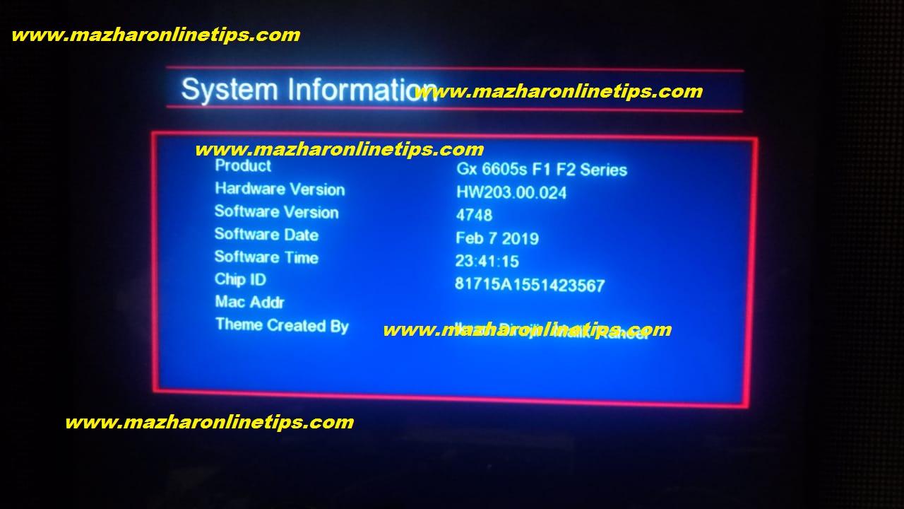 GX6605 HW203 02 024 F1 F2 SERIES HD RECEIVER NEW UPDATE AUTO