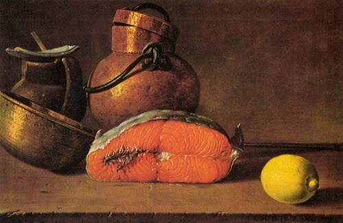 Luis Egidio Meléndez, Natura morta con salmone e limone
