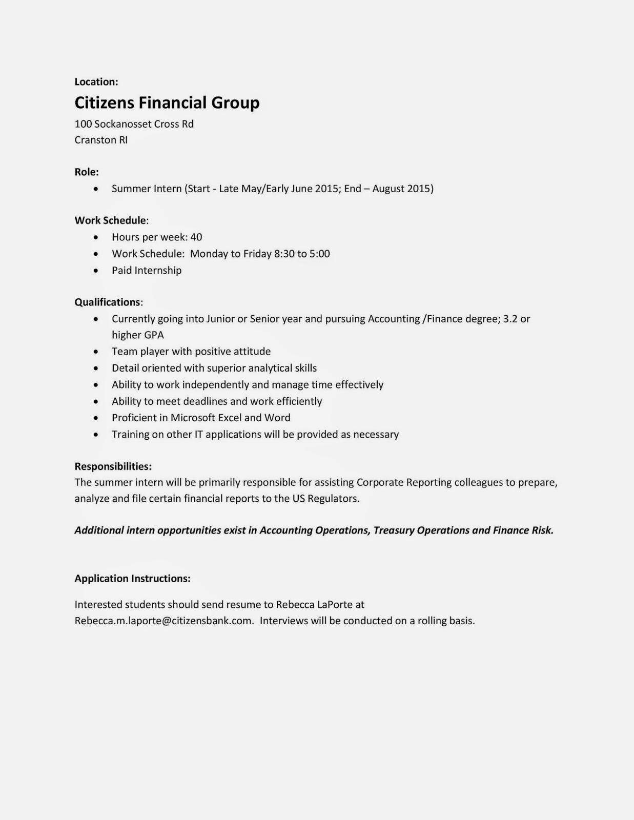 Uri Cba Internship Job Information Citizens Bank Summer