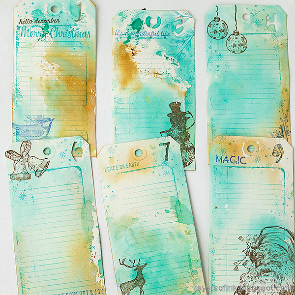 Layers of ink - December Countdown Calendar Tutorial by Anna-Karin Evaldsson. Stamped journal cards.