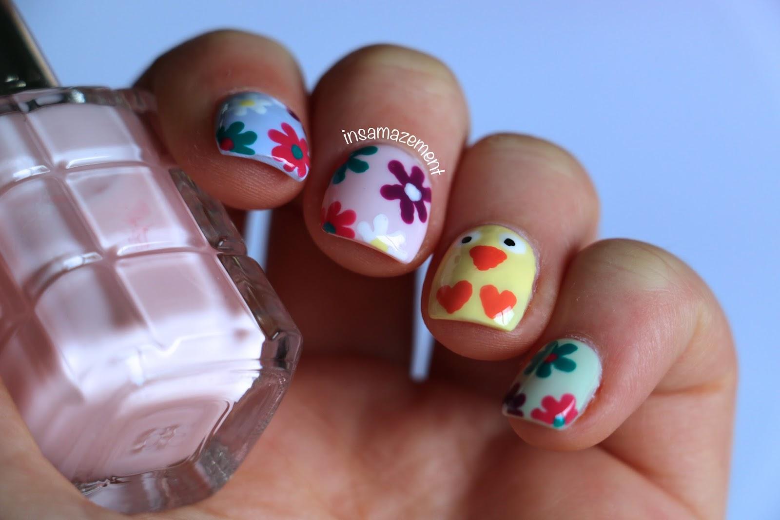 In Samazement Easter Chick Spring Flower Nail Art Tutorial