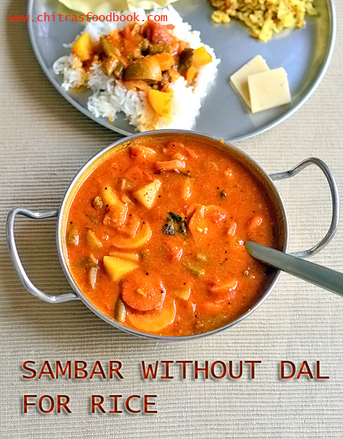 sambar without dal for rice