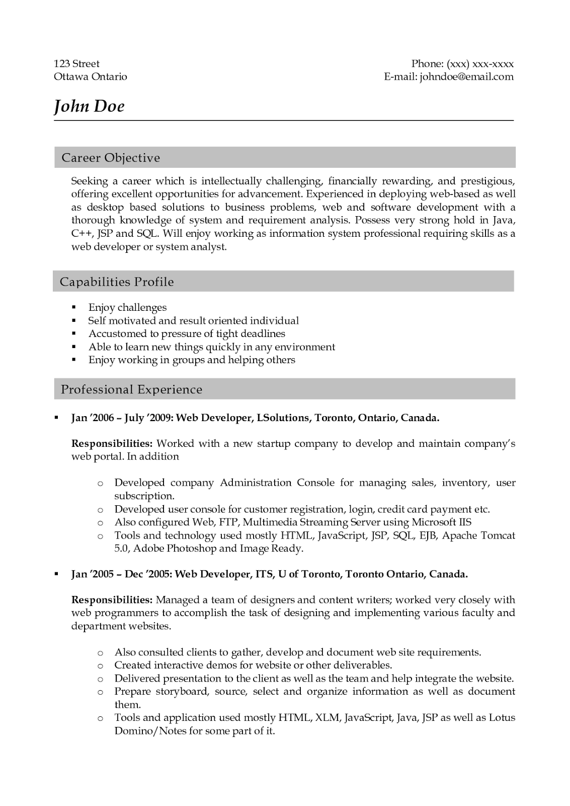 resume template front end developer 70