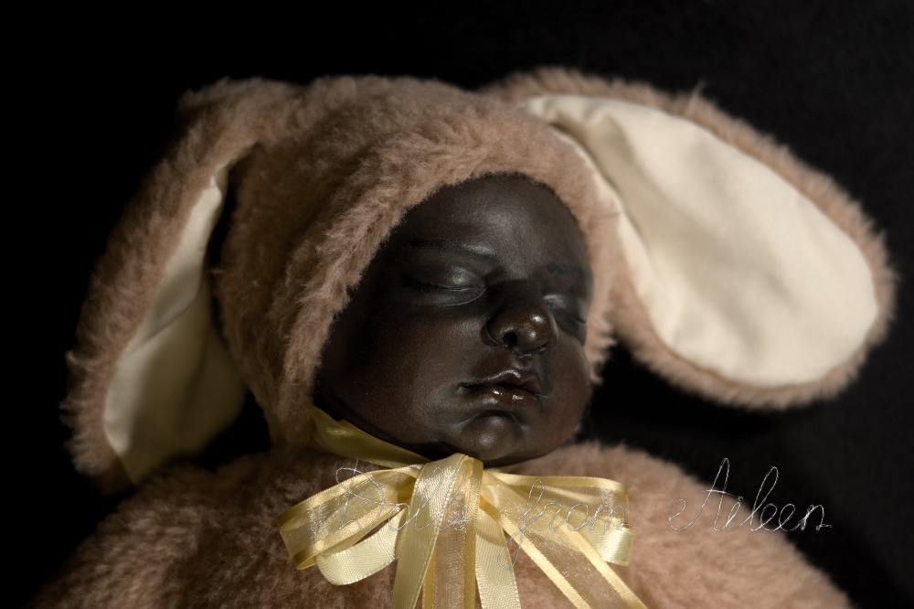 ooak baby teddy doll sleeping with smile on face
