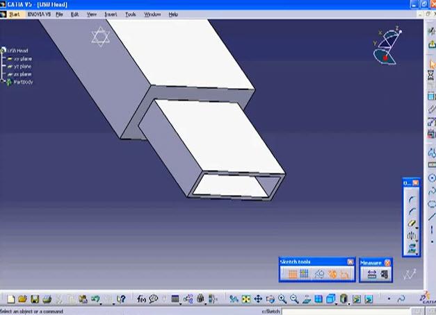 Catia V5ขั้นตอนสร้างโมเดล3D USB Head