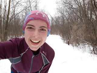Coureuse hivernale, sourire, Bois-de-Liesse,