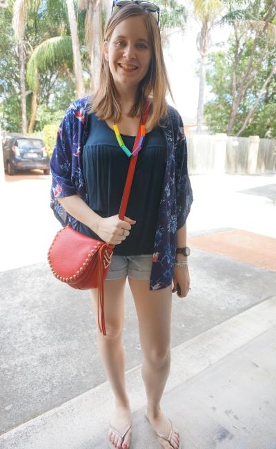 floral bird print kimono breastfeeding tank printed denim shorts red saddle bag shopping outfit | AwayFromBlue