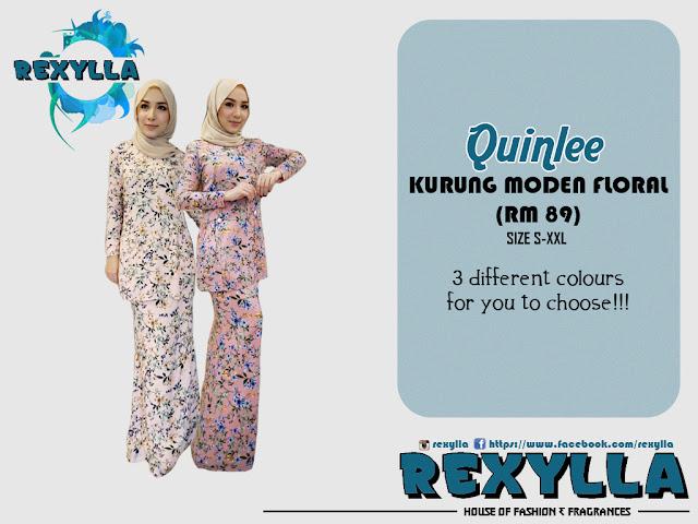 rexylla, baju kurung, kurung moden, floral, floral print, quinlee collection