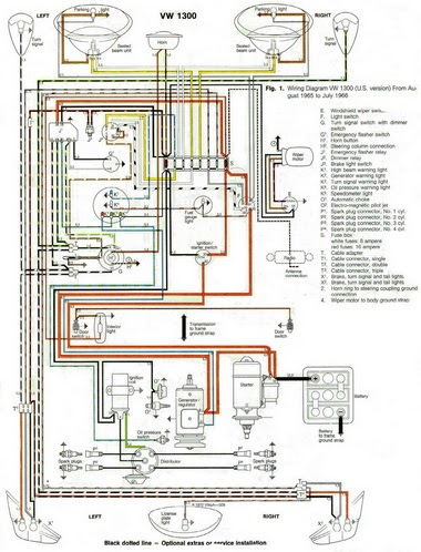 Free Auto Wiring Diagram: 1966 VW Beetle 1300 Wiring Diagram