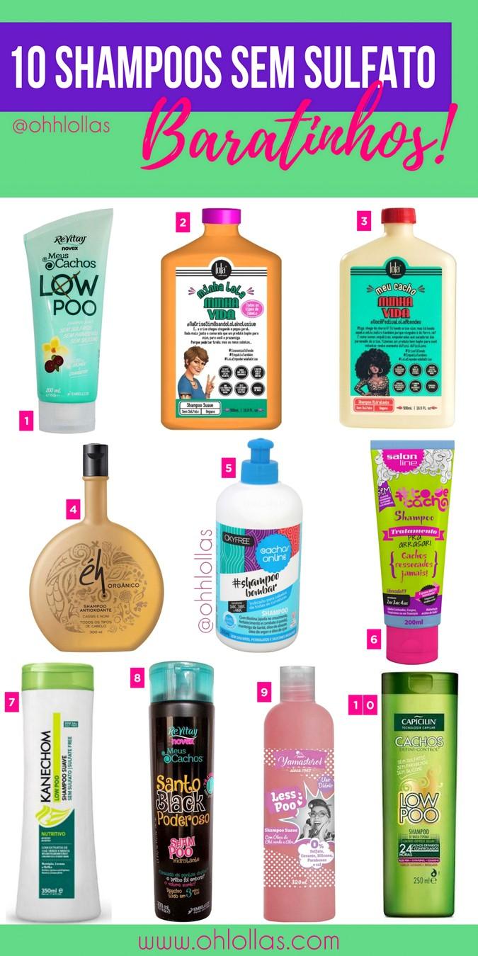 Produtos Low Poo. 10 shampoos sem sulfato forte, liberados para a técnica low poo e baratos. Lola Cosmétics, Novex, Éh Cosméticos, Inoar, #todecacho, Kanechom, Yamá, Capicilin. @ohlollas