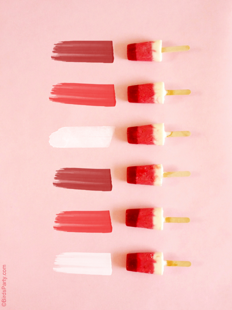 Raspberry & Yogurt Ombré Popsicles Recipe - BirdsParty.com