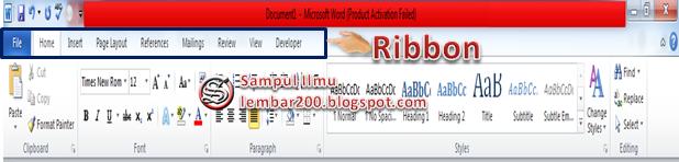 Belajar Menu Ribbon Di Microsoft Word. Dengan adanya fasilitas ini maka user dapat dengan mudah menggunakan aplikasi pengolahan kata yang mana Kelebihan dari menu Ribbon adalah dapat dengan mudah mengakses masing-masing menu dengan sekali klik.