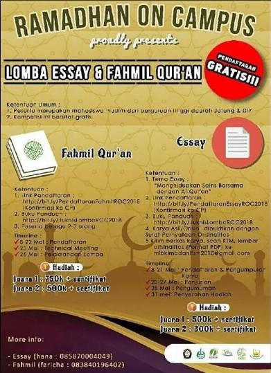Lomba Fahmil Al-Quran Mahasiswa Ramadhan On Campus 2018