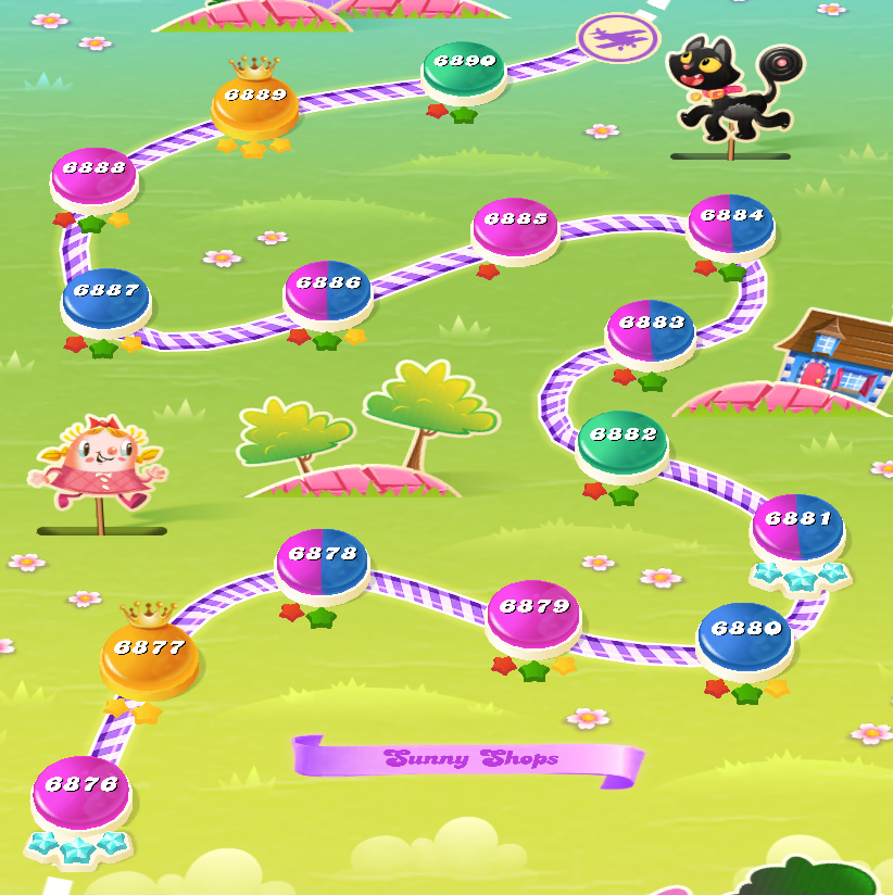 Candy Crush Saga level 6876-6890