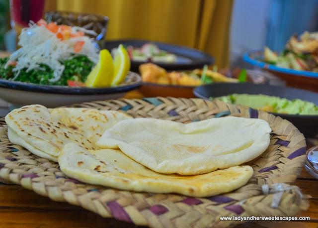 freshly baked bread in Al Maeda restaurant