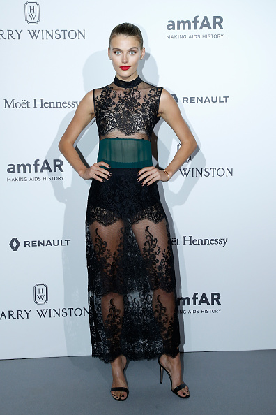 Madison Heardick in Black Lace Dress