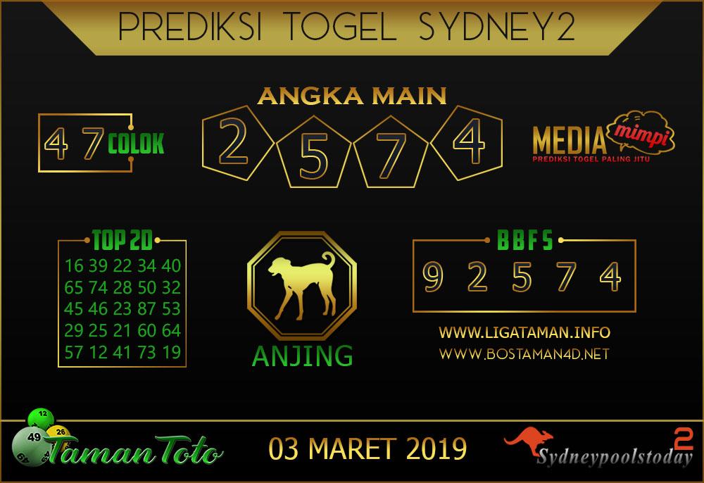 Prediksi Togel SYDNEY 2 TAMAN TOTO 03 MARET 2019