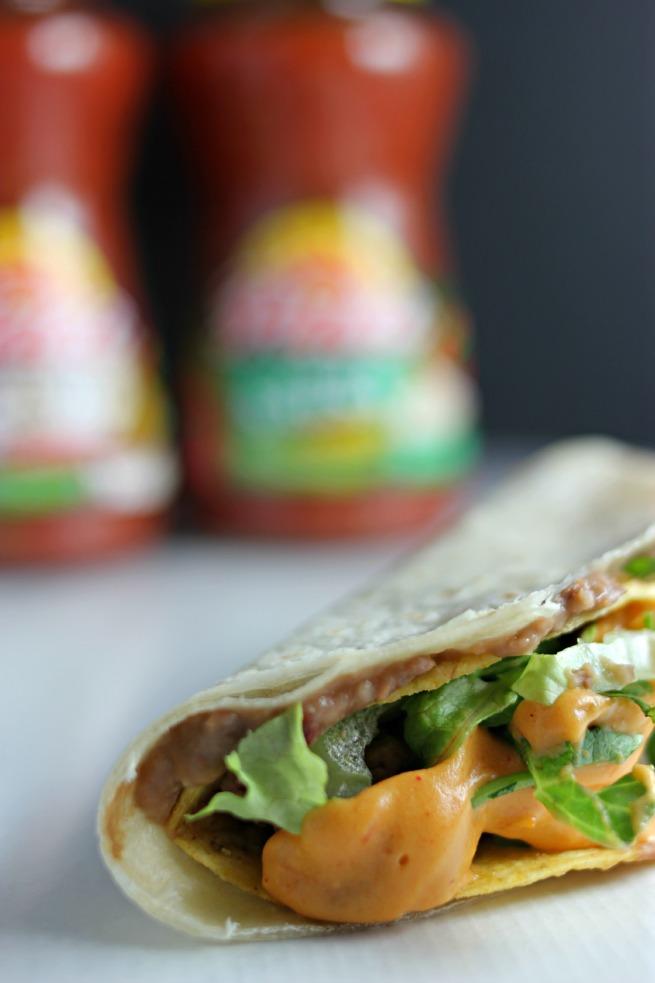 Easy Nacho Tacos.  Featuring an EASY nacho cheese sauce recipe (AKA Queso)