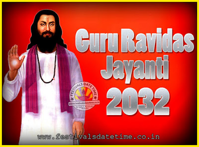 2032 Guru Ravidas Jayanti Date & Time, 2032 Ravidas Jayanti Calendar