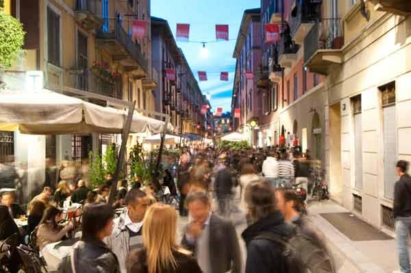 Bairro Brera no centro de Milão