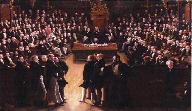 Pintura obra de Sir George Hayter conmemora la aprobación de la ley de reforma de 1832. Muestra la primera sesión el 5 de febrero de 1833 de la recientemente reformada Cámara de los Comunes (Fuente: Wikipedia)